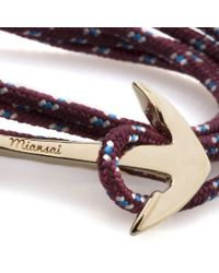 Miansai | Purple Burgundy Rope Gold Anchor Bracelet for Men | Lyst