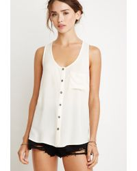 Forever 21 - Natural Crinkled Button-down Pocket Tank - Lyst