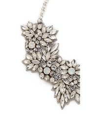 Deepa Gurnani - White Crystal Floral Necklace - Ivory - Lyst