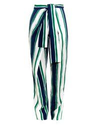 Chloé - Green Striped Kimono-front Trousers - Lyst