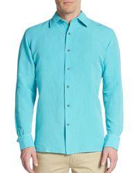 Saks Fifth Avenue | Blue Regular-fit Solid Linen & Cotton Sportshirt for Men | Lyst