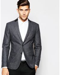 SELECTED - Gray Elected Homme Wool Blazer With Velvet Back Neck In Slim Fit for Men - Lyst