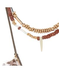 River Island - Girls Brown Multi Layer Feather Necklace - Lyst