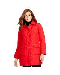 Ralph Lauren - Red Diamond-quilted Full-zip Coat - Lyst