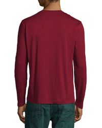 Lacoste - Red Long-sleeve Crewneck Tee for Men - Lyst