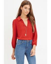 Forever 21 | Red Tonal Chevron Blouse | Lyst