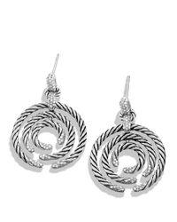 David Yurman | Metallic Willow Round Drop Earrings With Diamonds | Lyst