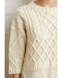 Forever 21 - Natural Contrast Cable Knit Sweater - Lyst