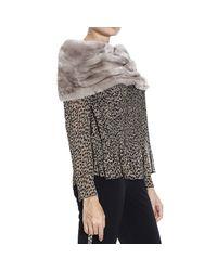 Armani | Natural Scarf Lapin Collar | Lyst