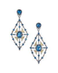 Konstantino | Metallic Thalassa London Blue Topaz, 18k Yellow Gold & Sterling Silver Chandelier Earrings | Lyst