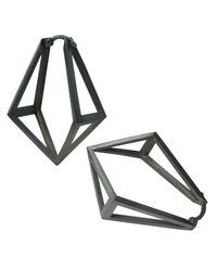 Stephanie Bates | Metallic Oxidised Silver Kite Hoop Earrings | Lyst