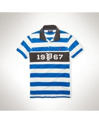 Polo Ralph Lauren | Blue Striped Cotton Mesh Rugby for Men | Lyst