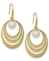 Macy's | Orange Cultured Freshwater Pearl Circle Earrings In 18k Gold Over Sterling Silver (7mm) | Lyst