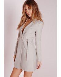Missguided - Gray D-ring Blazer Dress Grey - Lyst