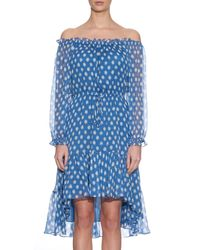 Diane von Furstenberg - Blue Camila Dotted Batik Off-the-shoulder Dress - Lyst