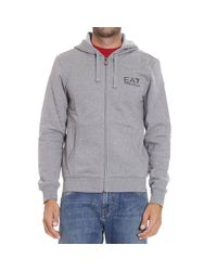 EA7 | Gray Sweater Fleece Zip Hood With Logo for Men | Lyst