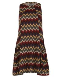 Izabel London | Red Knitted Swing Dress With Chevron Print | Lyst
