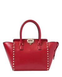 Valentino - Red Small Rockstud Nappa Leather Top Handle - Lyst