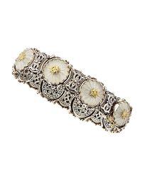 Konstantino | Metallic Medium Flower Carved Frosted Crystal Bracelet | Lyst