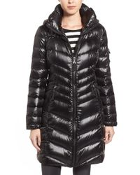 Calvin Klein | Black Hooded Down Coat | Lyst