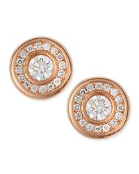 Roberto Coin | Metallic 18-karat Rose Gold Diamond Stud Earrings | Lyst