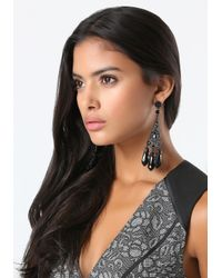 Bebe - Black Tonal Triple Drop Earrings - Lyst