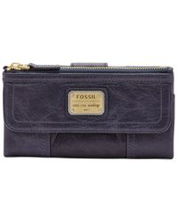 Fossil | Blue Emory Leather Clutch Wallet | Lyst