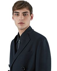 Lanvin Men's Double-breasted Top Stitched Crombie Coat In Black for men
