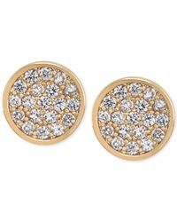 Carolee | Metallic Gold-Tone Round Pavé Stud Earrings | Lyst