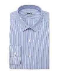 DKNY - Blue & White Stripe Slim Fit Dress Shirt for Men - Lyst