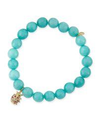 Sydney Evan | Blue 8Mm Aqua Jade Beaded Bracelet With Ladybug Charm | Lyst