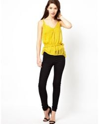 Traffic People | Yellow Anchors and Stripes Silk Cami Top | Lyst