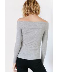 Hiatus - Gray Ribbed Off-the-shoulder Top - Lyst