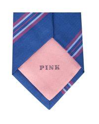 Thomas Pink - Blue Newport Stripe Woven Silk Tie for Men - Lyst