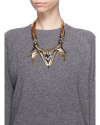 Iosselliani | Metallic Wood Horn Crystal Cheetah Necklace | Lyst