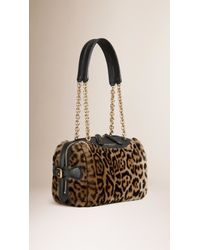 Burberry - Multicolor Alchester Small Printed-Shearling Bag  - Lyst