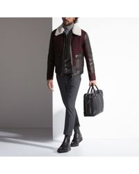 Bally Brown Leather & Wool Coat for men