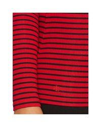 Ralph Lauren - Red Striped Ballet-neck Top - Lyst