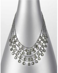 ABS By Allen Schwartz | Metallic Silvertone Clear-stone Layered Drop Necklace | Lyst