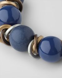 Jaeger Blue Large Textured Bead Necklace