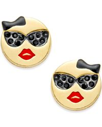 Kate Spade | Metallic Gold-tone Sunglasses Emoji Stud Earrings | Lyst