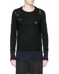 Ziggy Chen - Black Contrast Cuff Distressed Cashmere Sweater for Men - Lyst