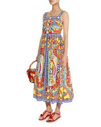 Dolce & Gabbana - Multicolor Sicilian-print Poplin Dress - Lyst