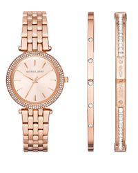 Michael Kors | Pink Mini Darci Rose Goldtone Stainless Steel Watch And Bracelet Set | Lyst