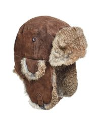 Woolrich | Brown Suede Aviator Cap With Rabbit Fur Trim for Men | Lyst
