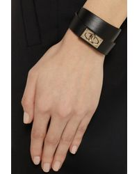 Givenchy Black Shark Lock Bracelet In Leather And Gold-Tone Brass