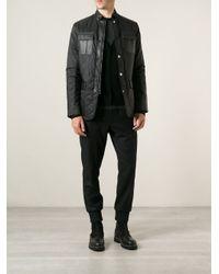 Michael Kors Black Sheepskin Detail Quilted Jacket for men