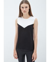 Forever 21 - Black Angular Colorblock Blouse You've Been Added To The Waitlist - Lyst