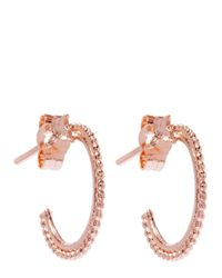 Alex Monroe Pink Small Rose Gold-plated Granulated Wire Ivy Leaf Hoop Earrings