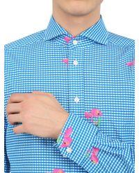 Eton of Sweden - Blue Flamingo Printed Checked Cotton Shirt for Men - Lyst